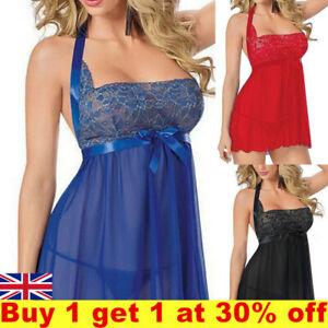 Sexy Women Bow Lingerie Chemise NightieSleepwear Babydoll Night Dress  Plus Size