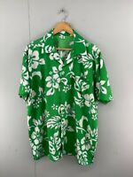 Vintage Men's Short Sleeve Hawaiian Button Up Shirt Size XXL Green Made In USA
