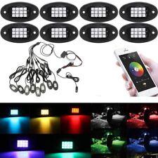 8x RGB LED Under Body Light Mini Rock Lamp Offroad Truck Boat Bluetooth Wireless