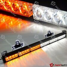 25 inch 24 LED White Amber Light Emergency Warn Strobe Flash Yellow Bar Hazard