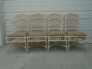 4 Fretwork Bamboo Dining Chairs Chinese Chippendale Hollywood Regency Rattan Set
