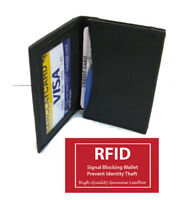 Black RFID BLOCKING Men Leather Bifold Thin Wallet ID Window Slim Card Case