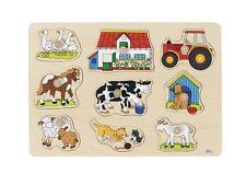 Holzpuzzle  Steckpuzzle Bauernhof I  Goki 9-teilig  57908  neu Sperrholz