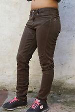 9.2 by Carlo rivincite Donna Marrone Denim Jeans Slim Stretch w26 uk8 ITALIA