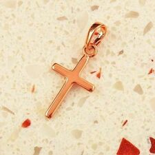14K Rose Gold Filled Womens Mens Small Fashion Cross Pendant For Long Necklace