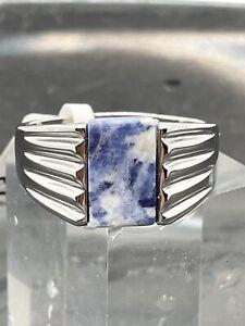 Mens agate ring blue capri genuine stone signet pinky stainless steel new 799