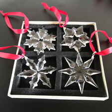 Clear Crystal Snowflake Ornaments Christmas Tree Decor for Home 4pcs w/ Gift Box