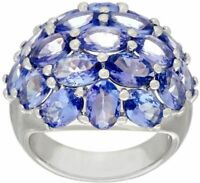 7.50 cttw Tanzanite Gemstone Cluster Design Ring  Sz-5 QVC