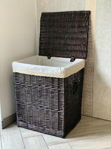 Dark Brown Laundry Basket Storage Bedroom Bathroom Wicker Rattan Shabby Chic