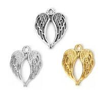 50 PCs Metal Heart Angel Wing Charms Pendants DIY Jewellery Making Accessories