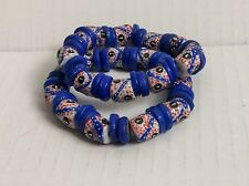Jewelry Blue White Red 8 inch Bracelet African Trade Bead Ethnic Authentic