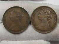 2 Better Grade UK Great Britain Half Cent Pennies: 1885 & 1887.  #48