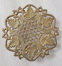 Antique Brass Ornate Floral Trivet Stand