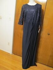 Alex Evenings Women's Navy Maxi Gathered Dress Size 20w