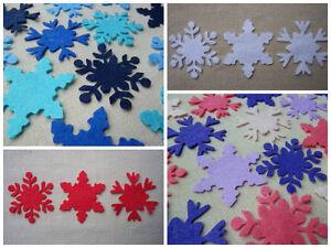 FELT x18 SNOWFLAKES 5cm die cut Christmas Ornaments Appliqués...ASSORTED COLOURS