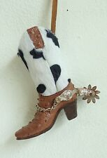NEW Cow Fur Print Cowboy Western Boot Resin Holiday Christmas Tree Ornament