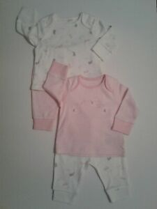Baby girls 2pk pyjamas set pjs 1-3 months up to 14.5  lbs