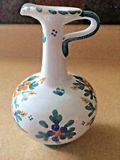 "Rare VTG Talavera Spain Art Pottery Handpainted Floral 7"" Cruet Ewer Bottle"