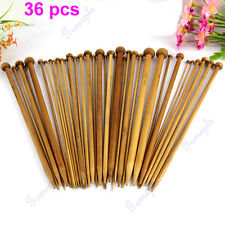 36Pcs 18 Sizes Single Pointed Carbonized Bamboo Smooth Crochet Knitting Needles