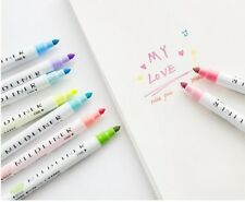12 Pcs/set Mildliner Pens Double Headed Fluorescent Pen Art Highlighter Drawing