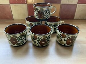 VINTAGE BOCH BELGIUM ARGENTEUIL CUPS X 6