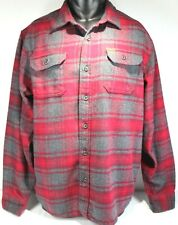 Orvis Men's Gray And Red Plaid Shirt XL Thick Heavy Fall Winter Type 4 Pockets