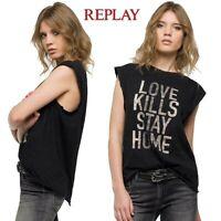 Camiseta Maxi de Tirantes replay Mujer Talla M Ancho sin Mangas Love Kills