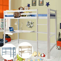 NEW SOLID WOODEN PINE TRIPLE BUNK BED HIGH SLEEPER CABIN BED WITH DESK&LADDER