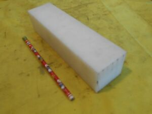 "NATURAL DELRIN BAR machinable plastic flat sheet stock 2"" x 2 1/8"" x 7 1/2"""