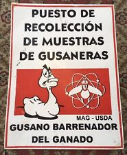 Unusual Worm Collection Station Spanish Sign 24x18 Metal USDA Post Compost Rare