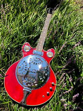 6 STRING TRANS-RED ACOUSTIC/ELECTRIC GREAT PLAYING NEW CONCERT RESONATOR GUITAR