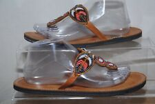 Ladies Flat Brown Toe Thong Sandals With Multicolour Bead Detail Uk Size 7
