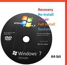 Windows 7 Ultimate 64-Bit Bootable DVD SP1 FULL Install Repair Recovery UK