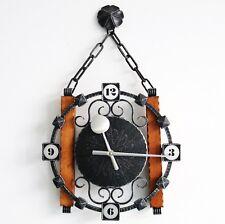 KIENZLE Vintage Wall Clock CAST IRON! / WOOD Germany ELECTROMECHANICAL Movement!