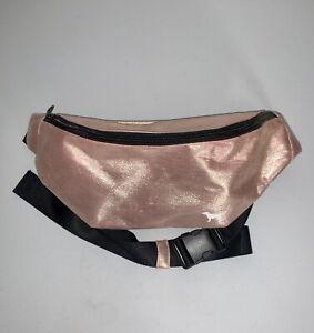 Victoria's Secret Pink Large Fanny Pack Belt Bag Shiny ROSE GOLD w/Dog Logo