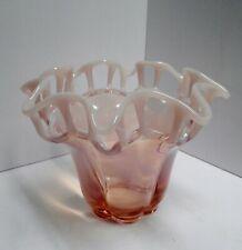Large Duncan Miller Pink Opalescent Latticed Ruffled Vase
