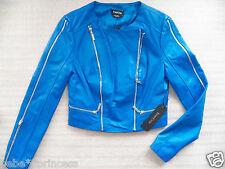 $300 NEW bebe blue Genuine LEATHER top moto coat Outerwear zipper jacket XS 0 2
