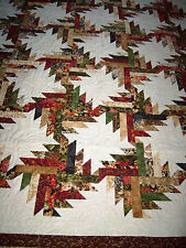 "Patchwork ""SHADES OF AUTUMN"" Quilt -Handcrafted by MJ Qults-Made in USA"
