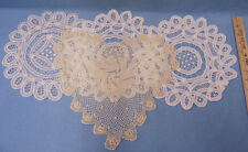 Crochet Doilies Linen White Ivory Cream  Medium Pinwheel Flowers lot of 4