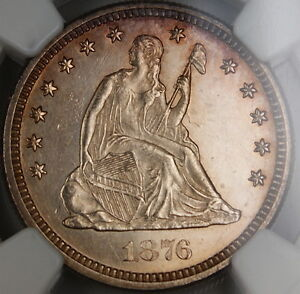 1876-CC Seated Liberty Quarter 25c, NGC UNC Details, Very Choice BU, PL Obverse