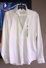 Robert Graham Size S White Cotton Pique Button Front Shirt Retail $148