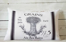 """French Grains - 12 x 18 """" lumbar style cushion cover shabby vintage chic"""