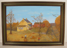 "ORIG 1976 Hornberger Naive Oil on Canvas Painting ""The Yellow Farm"" SUPERB!! yqz"
