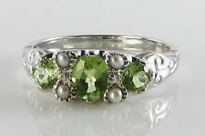 LUSH 9CT  WHITE GOLD PERIDOT & PEARL VICTORIAN INS RING FREE RESIZE