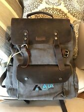 VASCHY Vintage Gray Brown Canvas Leather Rucksack Backpack Fits 15.6 inch Laptop