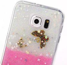 For Samsung Galaxy S6 - HARD TPU GUMMY RUBBER SKIN CASE COVER PINK GLITTER STARS