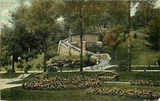 Peoria Illinois~Bradley Park~Curving Stone Wall Walk~Uphill~Rustic Benches~1910