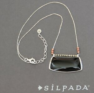 ❤ NEW Silpada STERLING black Sable Pendant N3436 Copper Natural Agate Pyrites