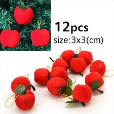 12 Pcs Red Apple Hanging Ornaments Accessory For Xmas Christmas Tree Party Decor