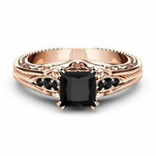 Gorgeous Women Rose Gold Filled Wedding Rings 2.10ct Black Sapphire Size 6-10